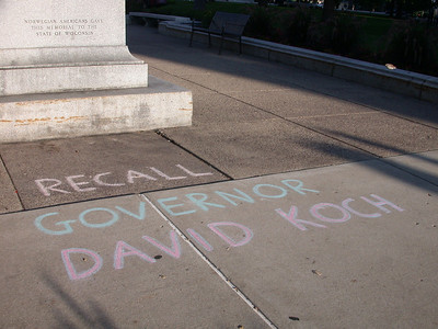 Sidewalk protests in chalk, Wisconsin State Capitol