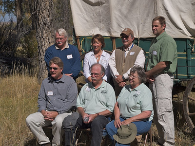 Standing l-r: Larry Elcock, PacifiCorp; Aimee Davison, Shell; Sam Drucker, BLM, Sublette Cnty Hist Soc, Wy Archaeological Society; Chris Nelson, PacifiCorp; Sitting l-r: John Huston, BLM; OCTA representatives Tom Rea and Fern Linton (Director)