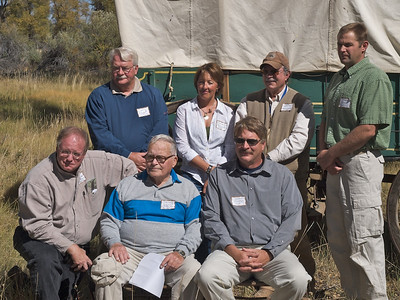 Standing l-r: Larry Elcock, PacifiCorp; Aimee Davison, Shell; Sam Drucker, BLM, Sublette Cnty Hist Soc, Wy Archaeological Society; Chris Nelson, PacifiCorp; Sitting l-r: Sen. Dan Dockstader and Jermy Wight, Lander Trail Foundation; John Huston, BLM