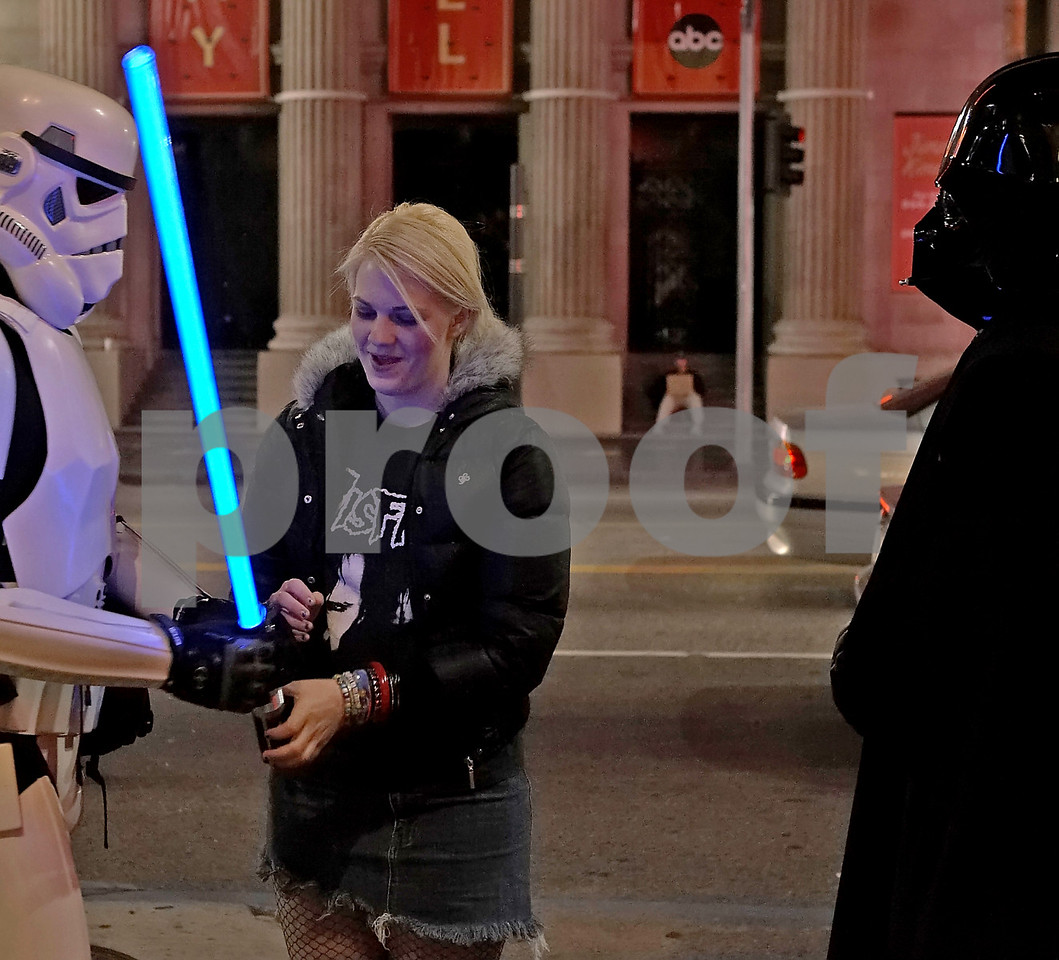 He said, grab my big long blue stick it wont bite. Darth just stood there breathing heavy