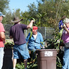 JC and Mr. K help strip the leaves from the sorghum stalks  (well, really, Mr. K is just doing the heavy looking-on)