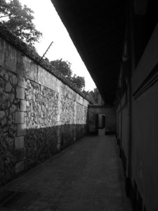 Inside the walls of the Hoa Lo Prison (Hanoi Hilton).  It is now a museum.