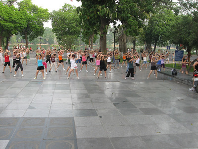 Morning exercise around Hoan Kiem Lake in Ha Noi.  Hoan Kiem Lake in background.