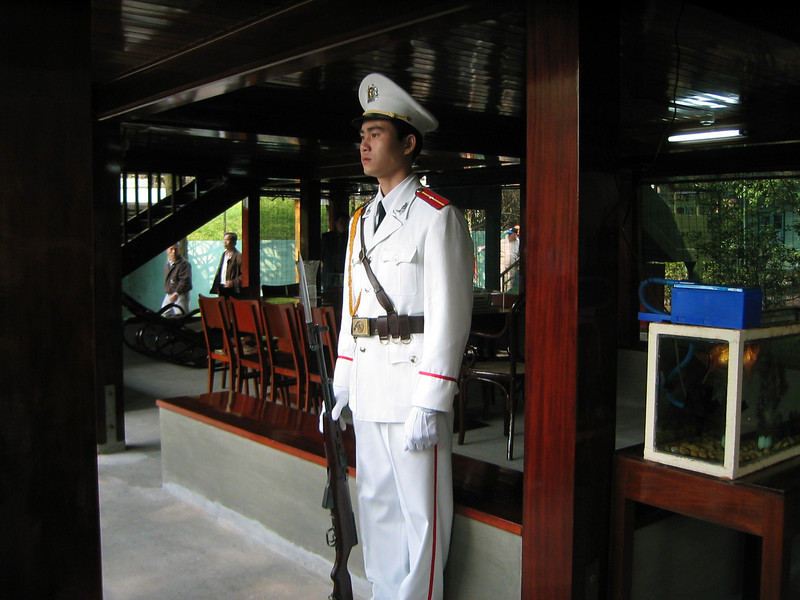Vietnamese Honor Guard in front of Ho Chi Minh House.