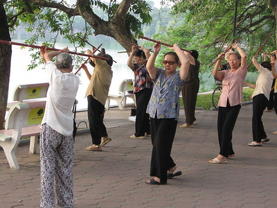 Morning exercise around Hoan Kiem Lake in Ha Noi.