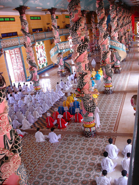 Inside the Cao Dai Holy See during worship.