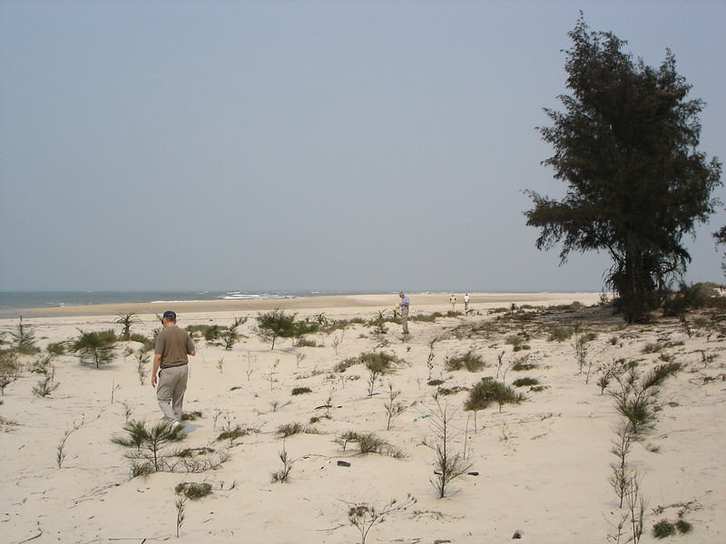 Walking the beach at Cua Viet.  1st AmTrac Bn located here in 1967-1969. -  Tour #VN05031