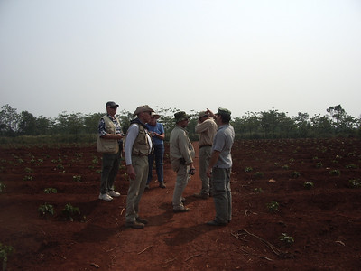 Here we are standing on the old air strip at the former Khe Sanh Combat Base.  The plants are young coffee plants.  -  Tour #VN05031