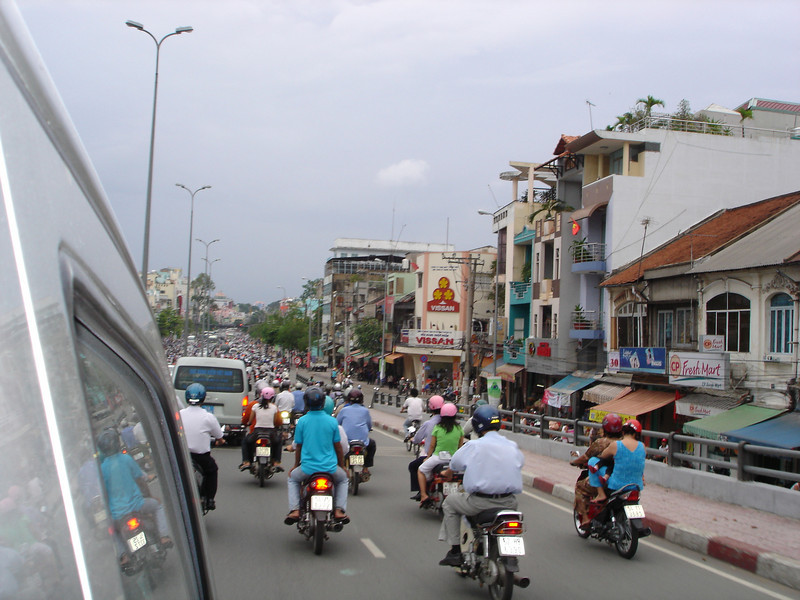 Traffic heading back into Saigon from the south.