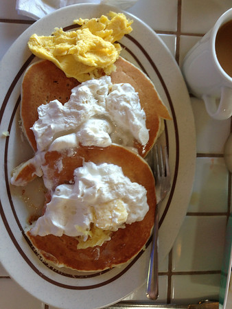 Pineapple pancakes with Macadamia nut Whipped Cream at the Gazebo Restaurant.