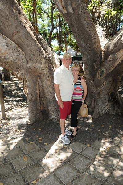 In front of the Banyon Tree main trunk, Lahaina, Maui, HI
