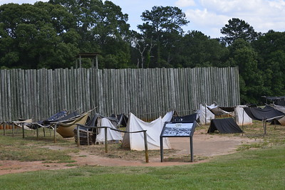 Stockade wall and representation of Tents inside Andersonville Prison, Andersonville, Ga by Mike Newman