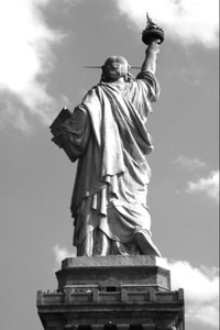 Back of Statue of Liberty b&w