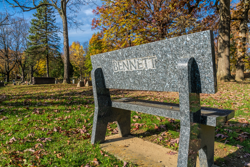 Larvikite bench used as a family grave marker