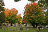 Scene of fall foliage, mostly sugar maples.<br /> This gives a sense of the rural parklike setting that was envisioned by the founders of this cemetery back in the 1860's.<br /> .<br /> Highland Cemetery, Ypsilanti, Michigan<br /> October 5, 2012