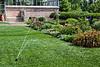 D196-2013  An essential task in a mid-west garden - watering.<br /> .<br /> Perennial Garden, Matthaei Botanical Gardens, Ann Arbor<br /> July 15, 2013