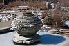 Limestone cairn-like fountain in the Gateway Garden<br /> <br /> Matthaei Botanical Gardens<br /> February 26, 2012