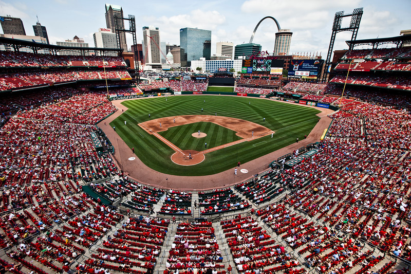 Wide Angle Busch Stadium St. Louis Cardinals vs Blue Jays 6-26-2011. Shot on Canon 5d Mark II. Canon 16-35mm II