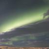 Northern lights shine above us, Hotel Laxa, Lake Myvatn, Iceland