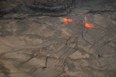 Closeup view of lava spurting in a crater on the Big Island of Hawaii