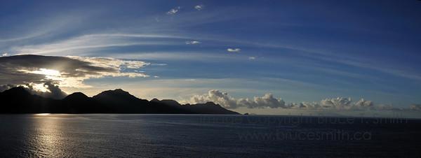 Sunrise panorama near Dominica
