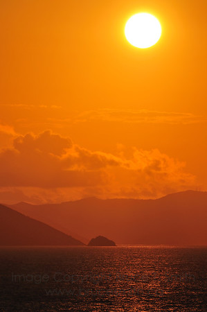 Sunrise near Tortola in the British Virgin Islands