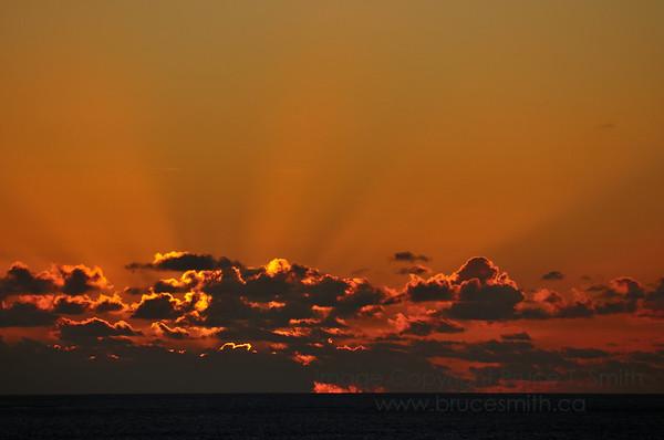 Sunrise and God's Rays near Dominican Republic