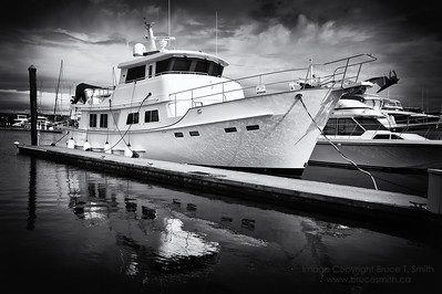 Yacht in the harbour in Sidney, BC