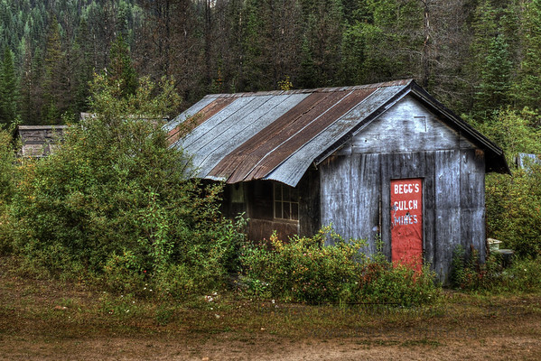 Old mine buildings at Begg's Gulch, in the Barkerville area of British Columbia.