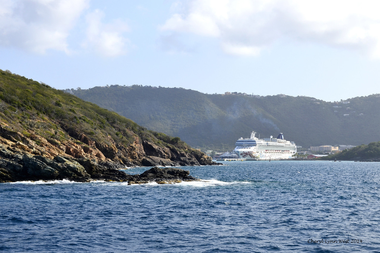St. Thomas -Taking the boat over to St. John's Island, looking back at the Emerald Princess (March 22, 2014)