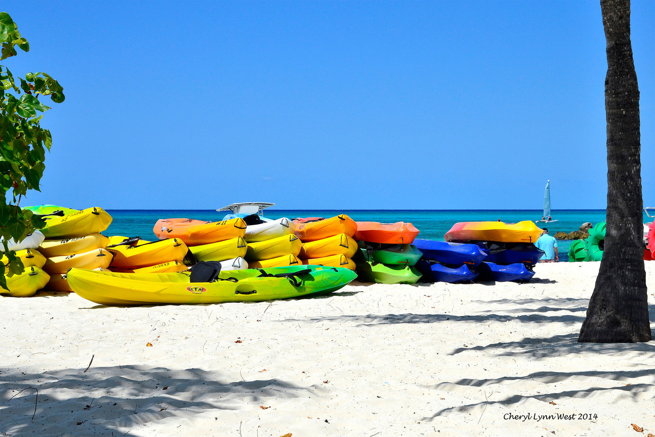 Princess Cays - Colorful rafts on the beach (March 20, 2014)
