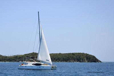 St. Thomas - Sailboat, leaving St. John's Island and returning to St. Thomas (March 22, 2014)
