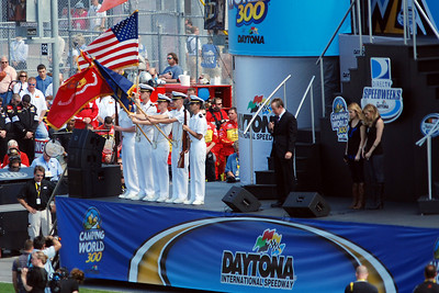 Color guard and invocation before the start of the Camping World 300 race