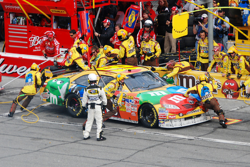 Pit stop for M&M car.  Cute car but it didn't finish the race