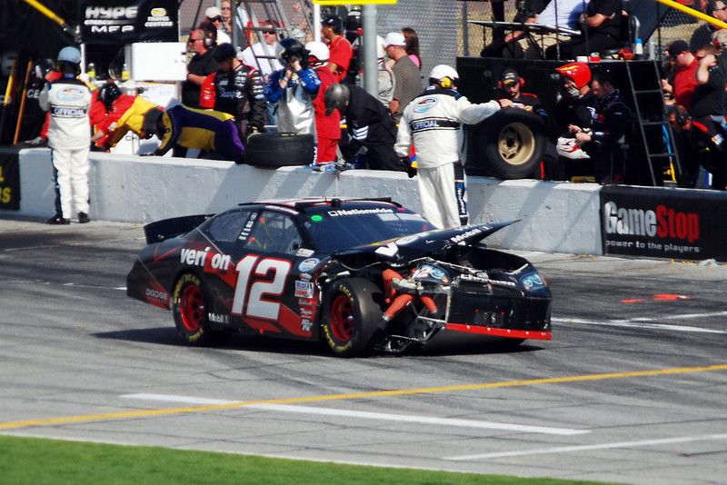 #12, Justin Allgaier - coming into pit area after crash