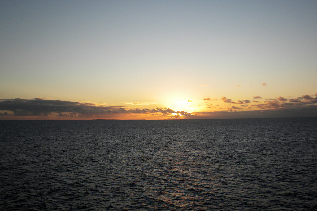 Sunset at sea - our first day out