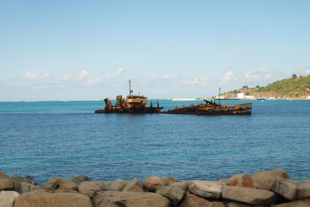 Sunken wreck on the French side of St. Maarten