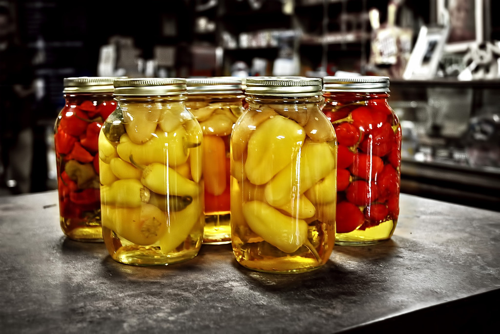 Pickled peppers for sale in the General Store, Evinston, FL