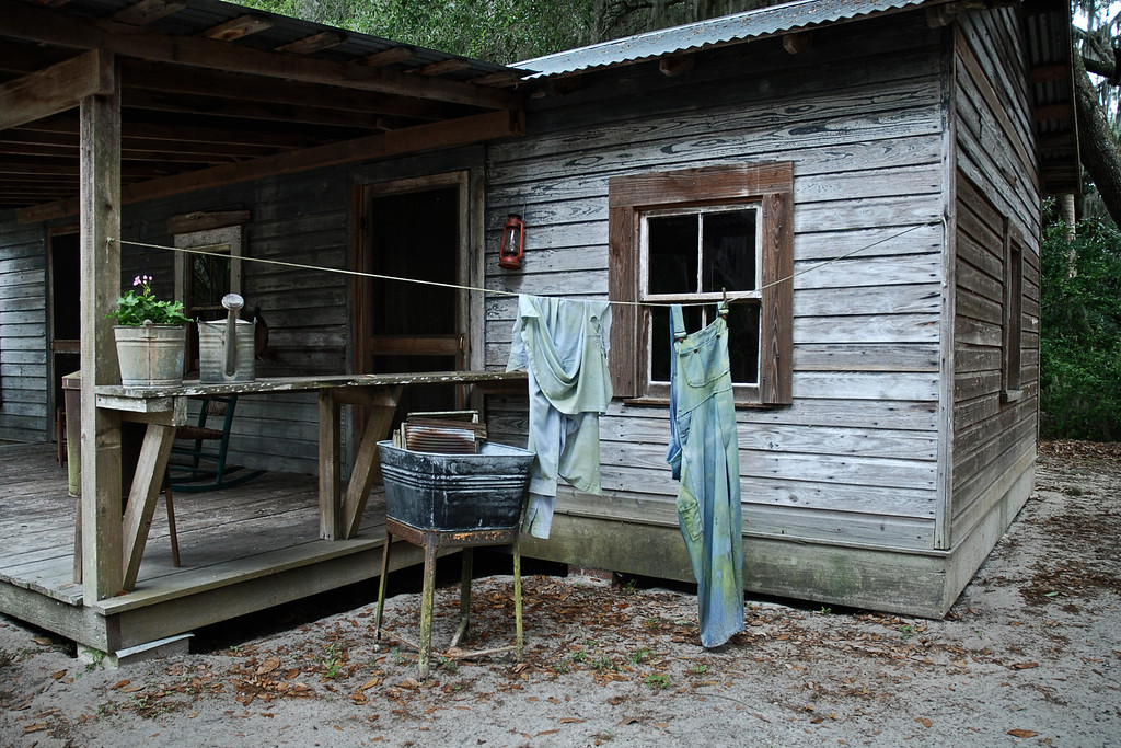 Tenant's house at Cross Creek consisted of two rooms, one which was the bedroom for the entire family and the other room for the kitchen and dining area.