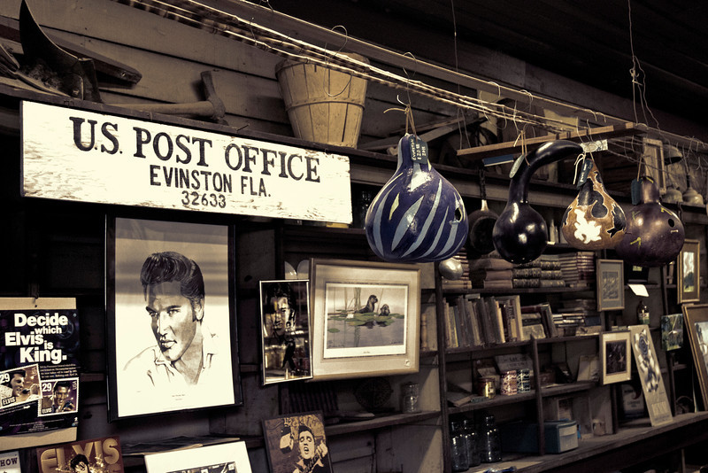 Inside the Evinston General Store and Post Office.  Obviously, someone is a big Elvis fan