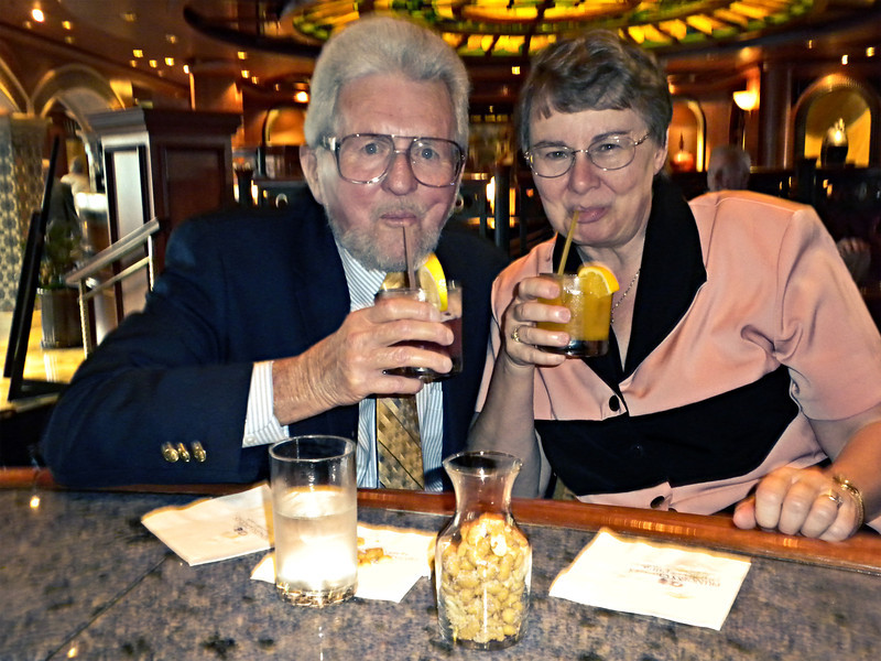 Frank and Cheryl enjoying some specialty drinks onboard the Island Princess - December 6, 2011