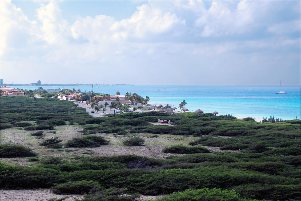 Looking down at Aruba, from the California Lighthouse