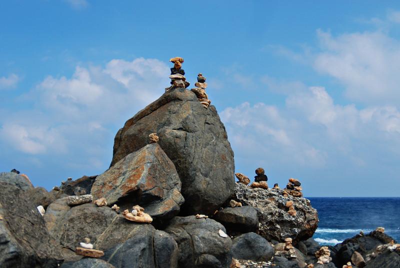 Rock stacking, a popular activity in Aruba - December 2, 2011