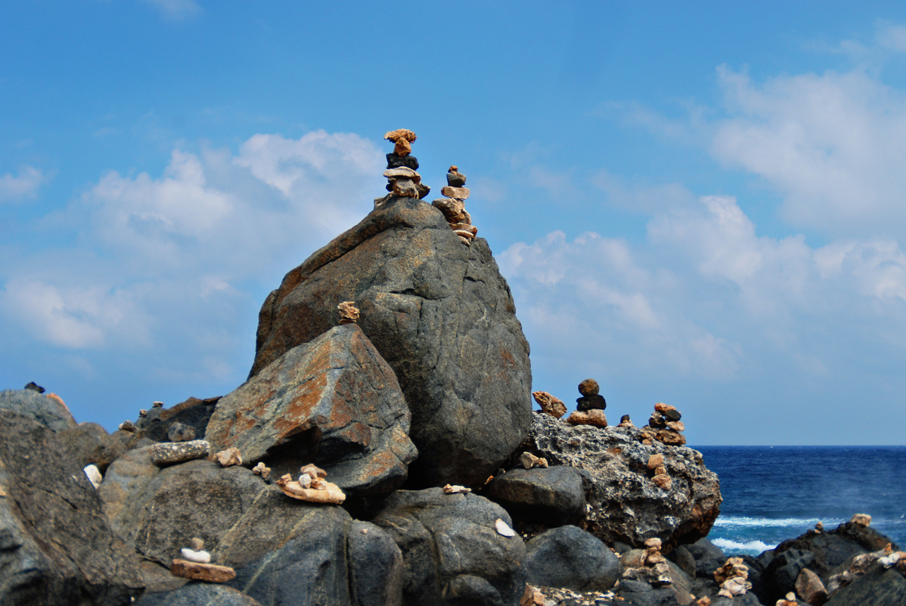 Rock stacking, a popular activity in Aruba - December 2, 2011