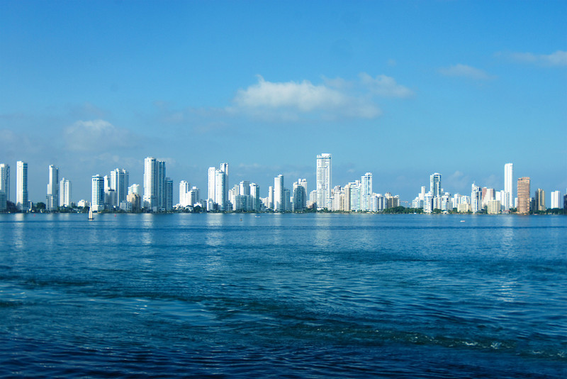 Cartagena, Columbia - view of the newer part of the city