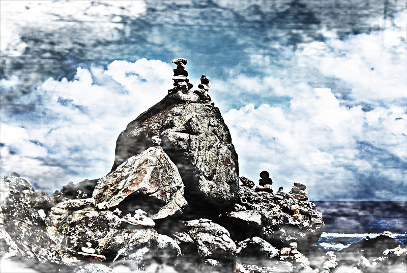 Rock stacking, a popular activity in Aruba - December 2, 2011 - photo stylized