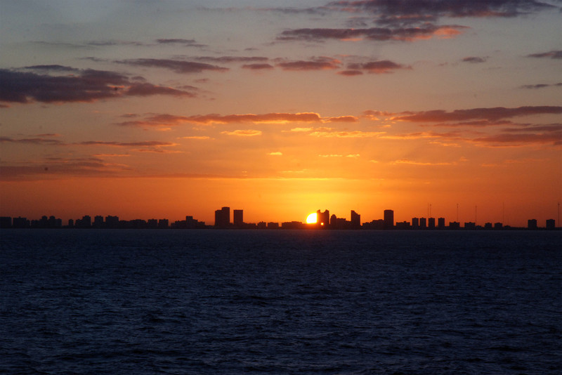 Sunset as we leave Ft. Lauderdale