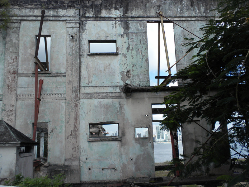 Destroyed building in Old Panama City, looking over at the newer part of the city.