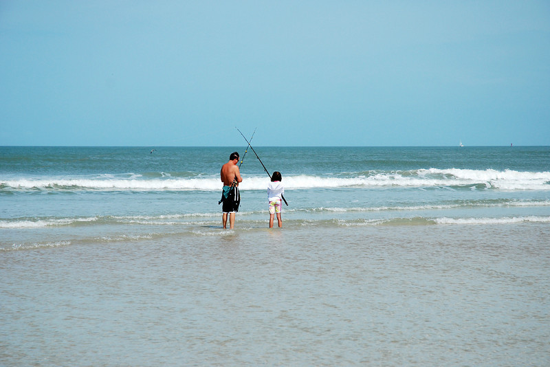 This father and daughter were trying their luck at cast fishing.