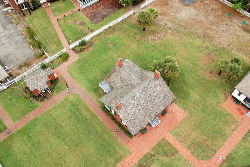 Looking down at the lightkeepers' homes